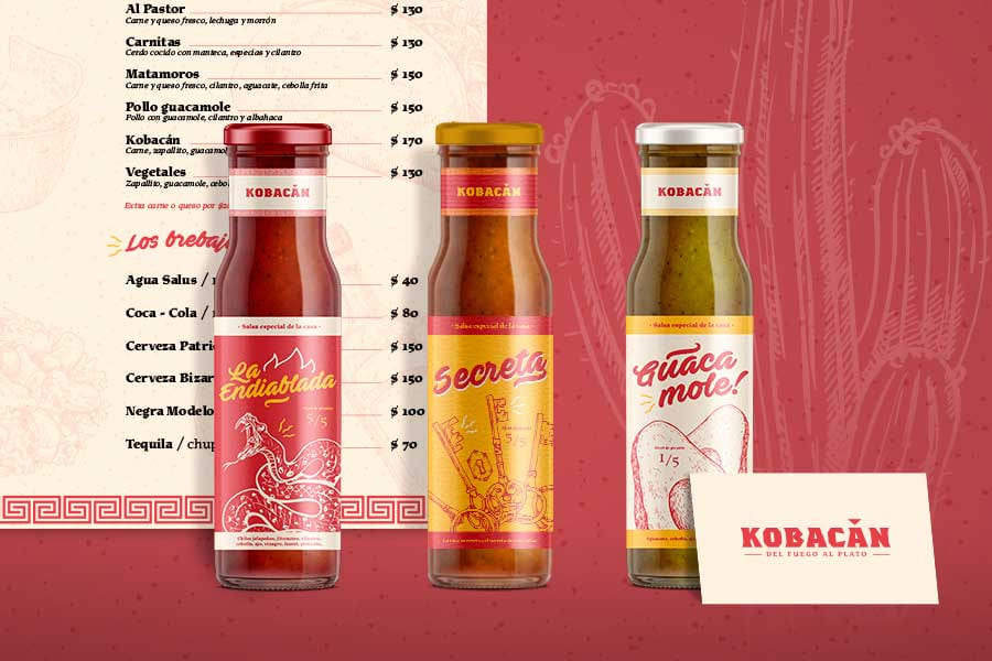 Mexican restaurant branding and packaging